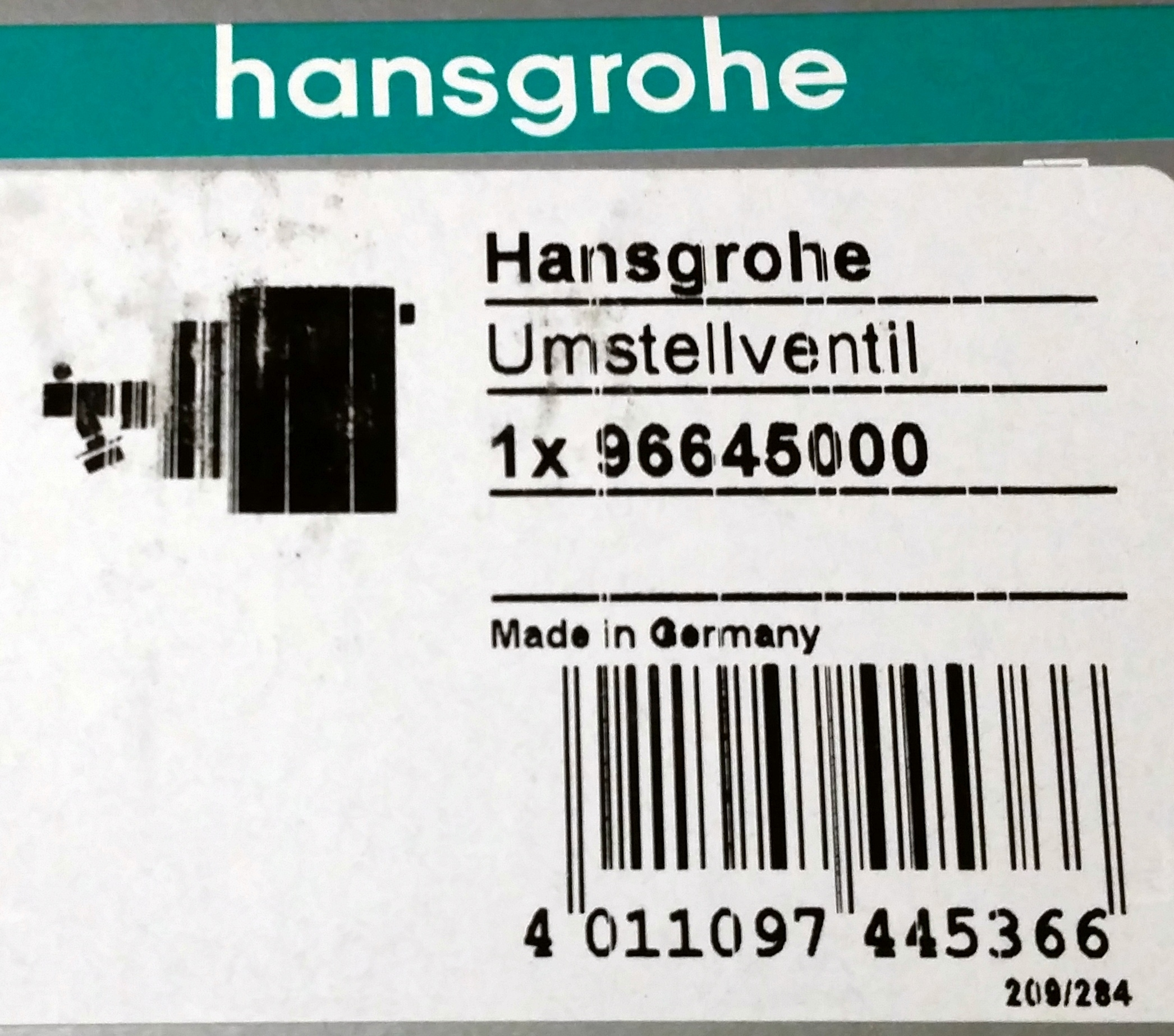 Hansgrohe Cartridge on/off control shut-off converter valve (AUV 50 ...